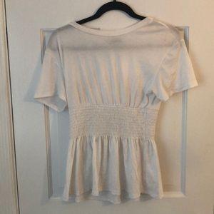 White Sinched Waist Shirt